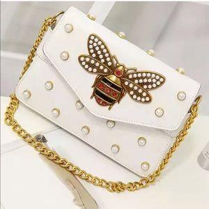 Honey Bee Rivet Pearl Shoulder Bag